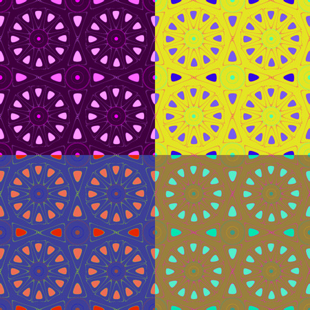Seamless colorful patterns composed of irregular geometric shapes, vector graphics