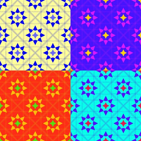 Set of seamless color patterns of the duplicate shapes