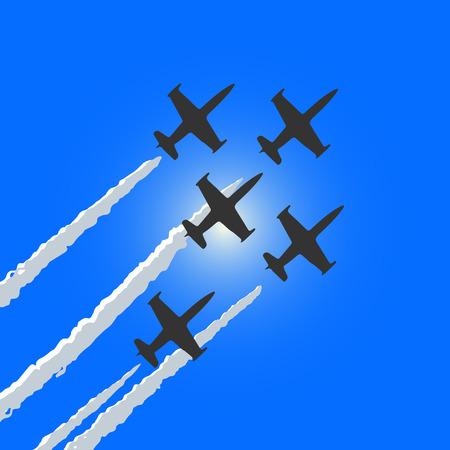 グループの 4 つのスポーツの航空機が飛んでいます。  イラスト・ベクター素材
