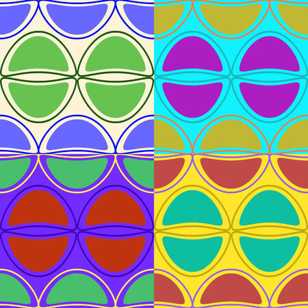 A set of colorful seamless patterns of vector graphics