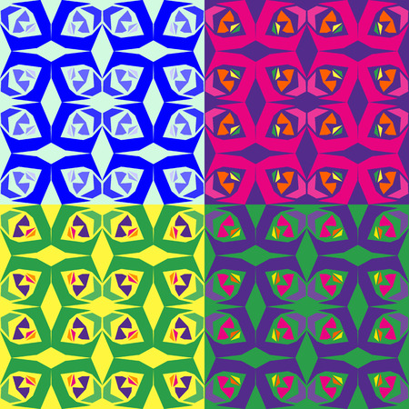 Set of abstract colorful seamless vector patterns of geometric shapes Иллюстрация