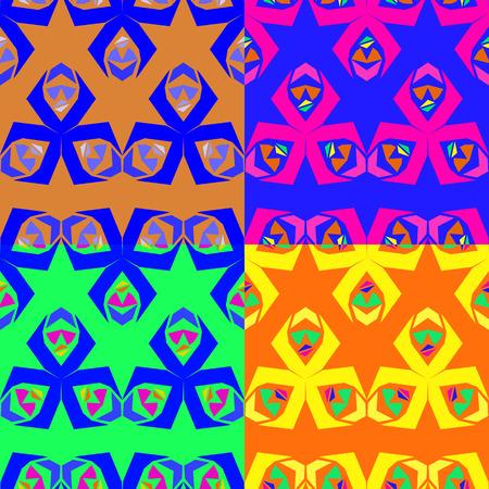 기하학적 모양의 추상 다채로운 원활한 벡터 패턴의 집합 일러스트