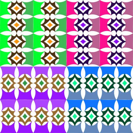 Set van abstracte kleurrijke naadloze vector patronen van geometrische vormen Stock Illustratie