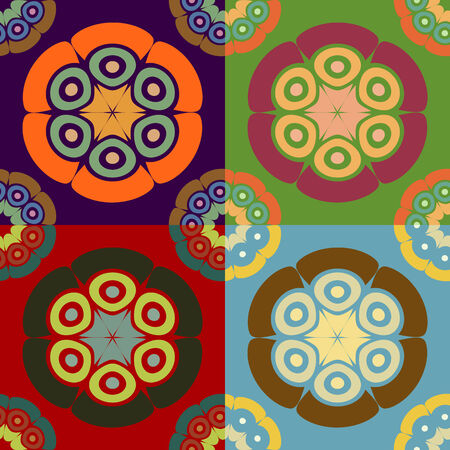 Set of abstract colorful seamless vector patterns of geometric shapes Ilustração