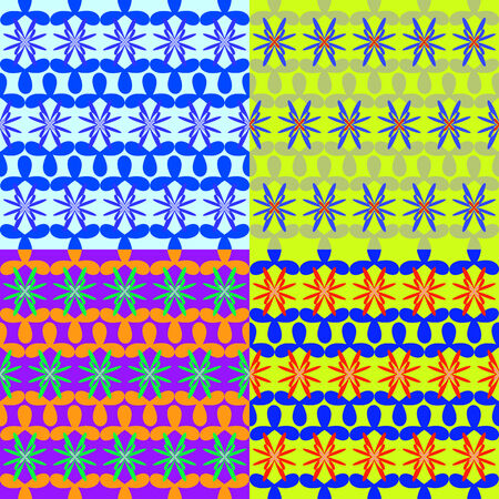 associative: Set of abstract colorful seamless vector patterns of geometric shapes Illustration