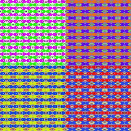 Set of abstract colorful seamless vector patterns of geometric shapes Illusztráció