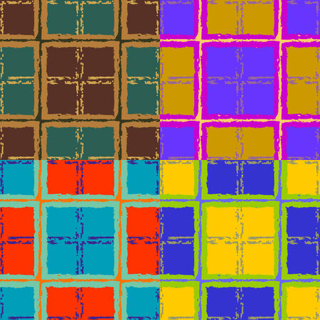 A set of abstract colorful seamless vector drawings of squares with jagged and broken edges