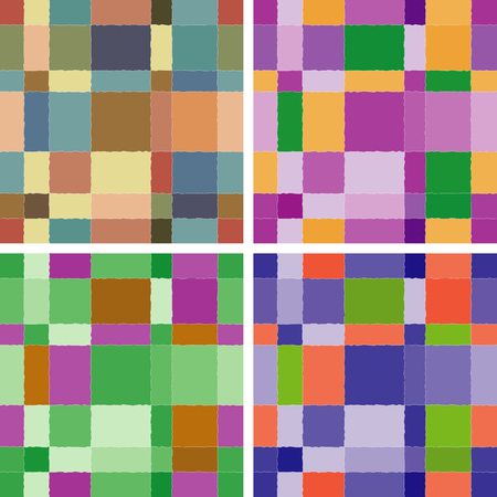 A set of colorful seamless backgrounds based on rectangles Ilustracja
