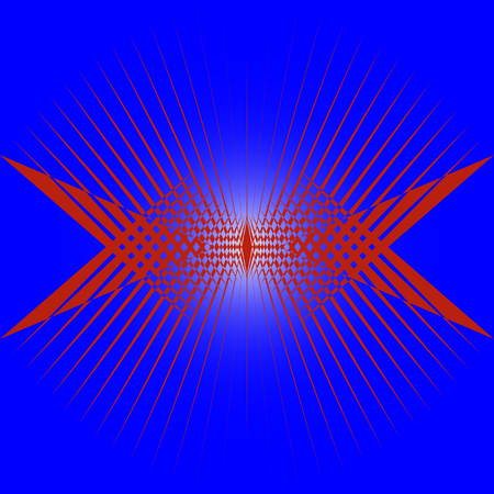 Abstract drawing of red rays on a blue background