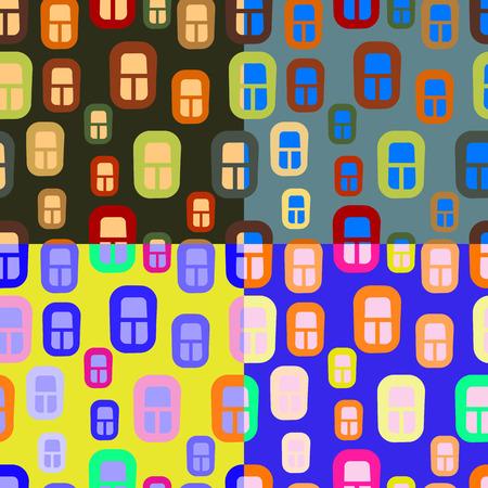 Naadloze vector patroon van veelkleurige ramen van huizen op verschillende tijdstippen van de dag