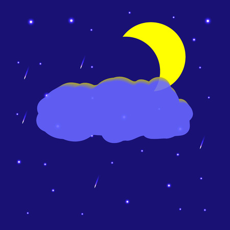 Vector image of the night sky with the Moon, cloud and the stars