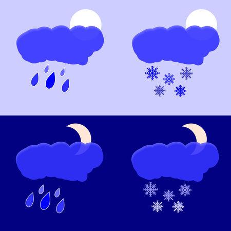 precipitaci�n: Vector gr�fico representa la noche y por la tarde las precipitaciones en forma de lluvia y nieve