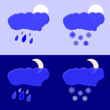 Vector graphic depicts night and afternoon precipitation as rain and snow