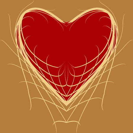 devotions: Symbolic figure of red heart on a yellow background Illustration