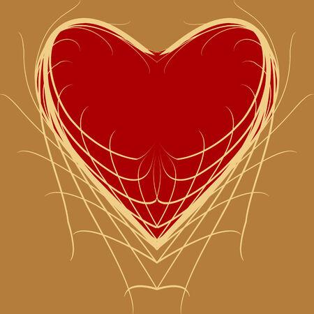 Symbolic figure of red heart on a yellow background Ilustração