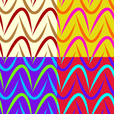Seamless colorful patterns composed of geometric shapes, vector graphics