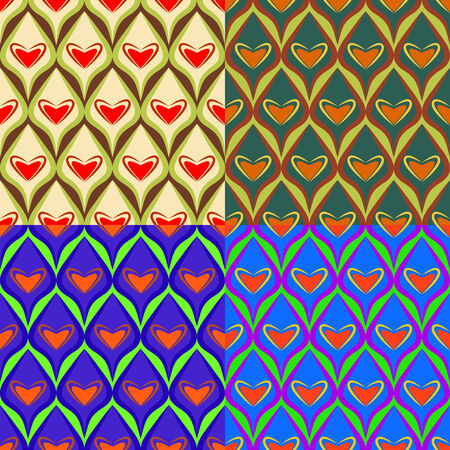 Seamless colorful set of abstract backgrounds with symbolic hearts