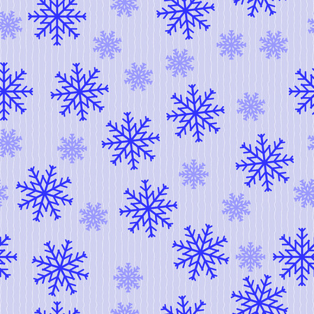 undulating: Seamless vector pattern of falling snowflakes on blue background