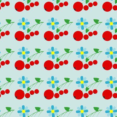 Naadloos vectorpatroon met rode bessen en bloemen Stock Illustratie