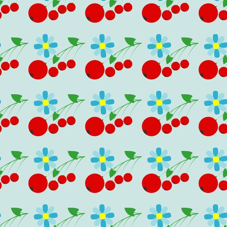 red berries: Seamless vector pattern with red berries and flowers