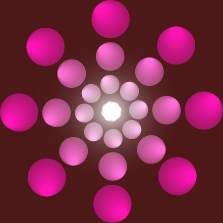 Abstraction balls with pattern on red background with a gradient