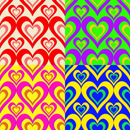 Seamless abstract backgrounds with symbolic color hearts Vector
