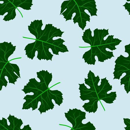 joyous: Seamless pattern of green grape leaves on a blue background