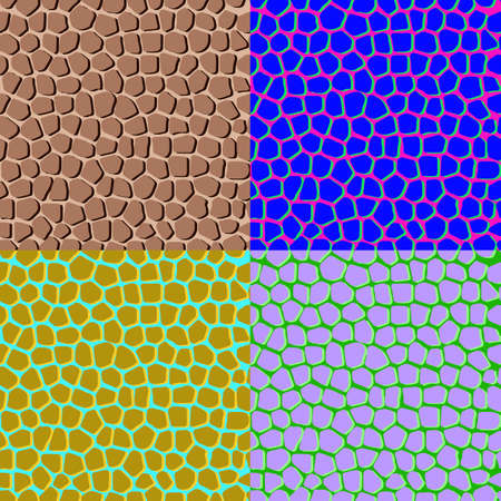 Set of colored abstract seamless backgrounds, imitating the structure of the skin Çizim
