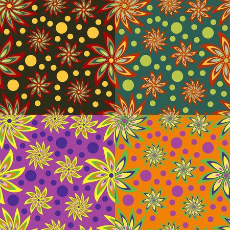 Abstract seamless background of fantastical flowers Illusztráció