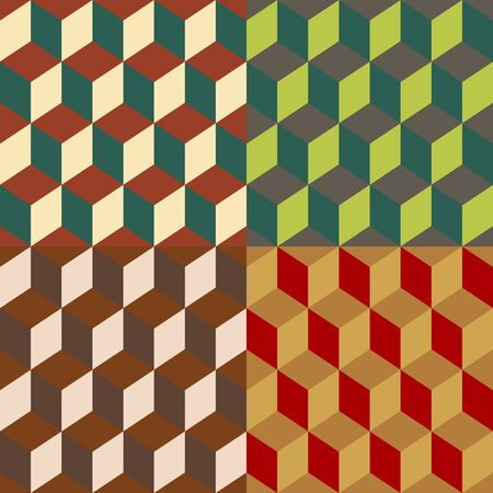Set color of seamless vector background of the cubic projections