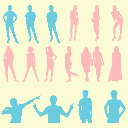 Silhouettes of men and women in various poses
