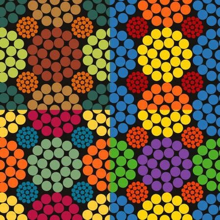 Seamless pattern of colored circles on a dark background