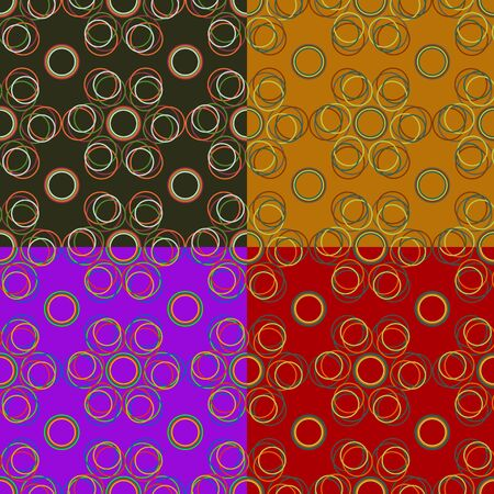 Seamless pattern of colored thin circles on a dark background