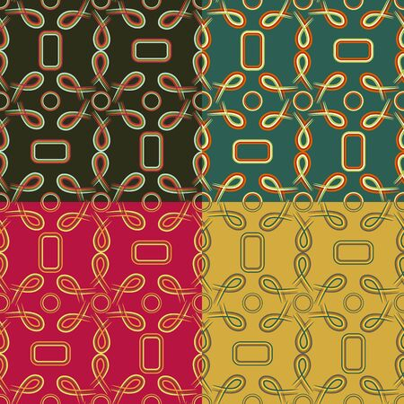 Set of seamless pattern of colored symmetric geometric shapes and lines