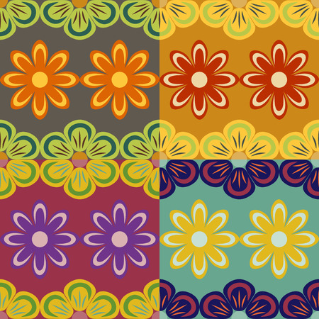 screen savers: Set of seamless vector patterns abstract flowers of plants