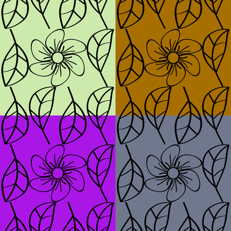 Set of seamless vector patterns abstract flowers of plants