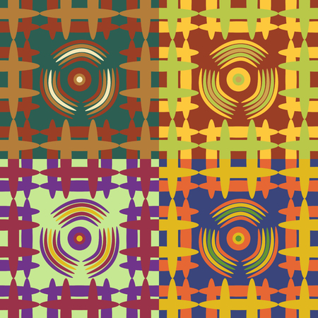screen savers: Set of seamless vector patterns of colored geometric shapes