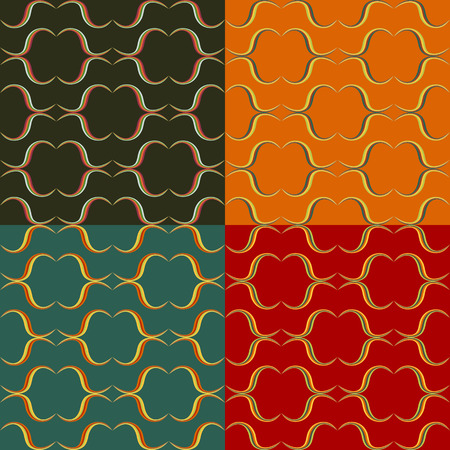 Set of seamless patterns of colored wavy lines 向量圖像