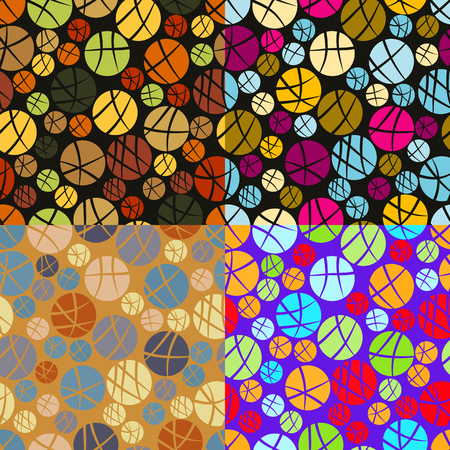screen savers: Set of seamless patterns of colored cut circles