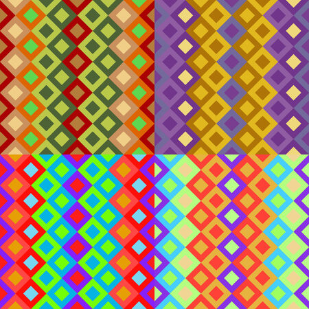 Set of seamless patterns of colored squares