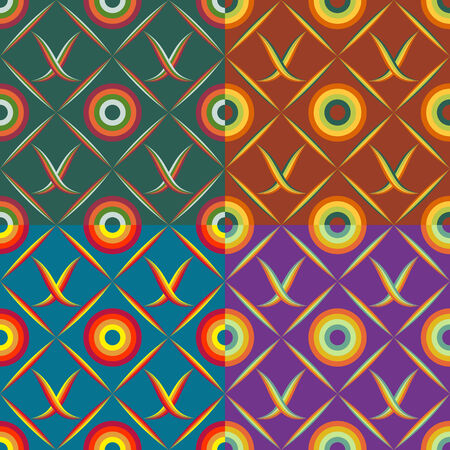 Set of seamless patterns of colored squares with geometric shapes and symbols