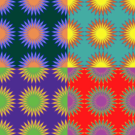 Set of seamless color patterns with abstract stars with rays