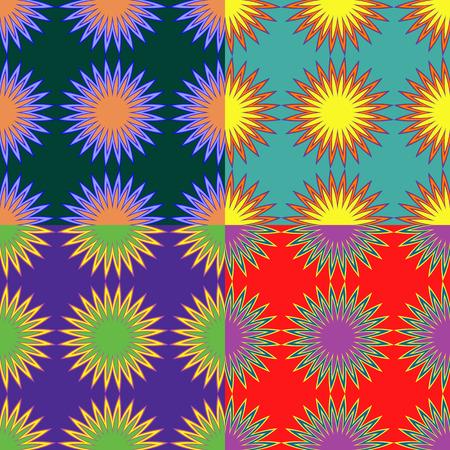 Set van naadloze kleurenpatronen met abstracte sterren met stralen Stock Illustratie