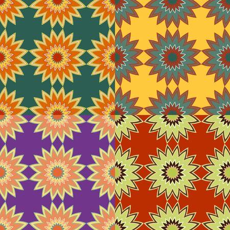 Set van naadloze kleurpatronen met abstracte sterren met stralen