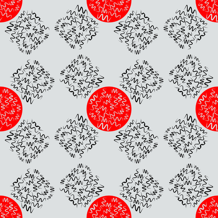 Seamless color patterns with abstract, winding lines and red circles
