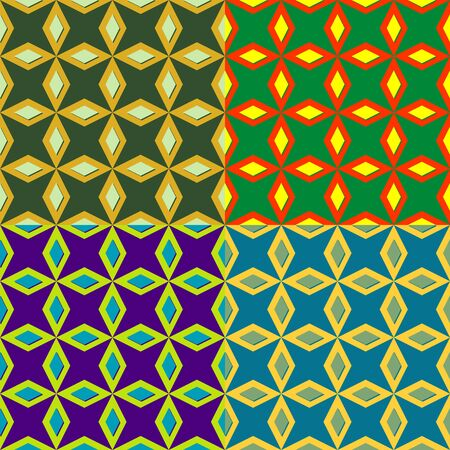 Set of colorful seamless patterns with symmetrical geometric shapes Illusztráció