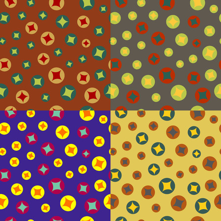 Set of colorful seamless backgrounds with chaotic colored circles