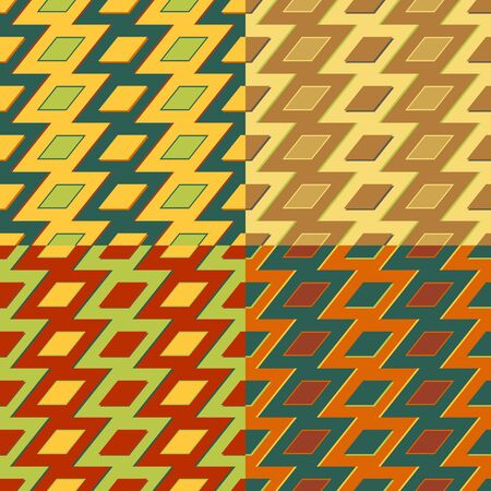 Set of colorful seamless patterns with symmetrical geometric shapes 向量圖像