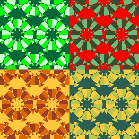 screen savers: Set of seamless color patterns of abstract geometric shapes of different sizes Illustration