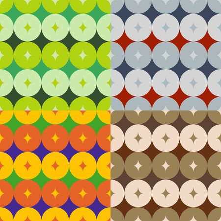 Set of abstract patterns of seamless colored circles
